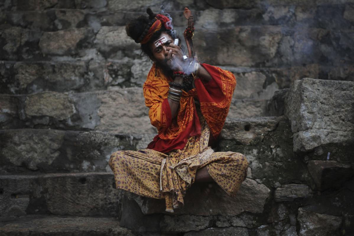 sadhu smoking at kamakhya