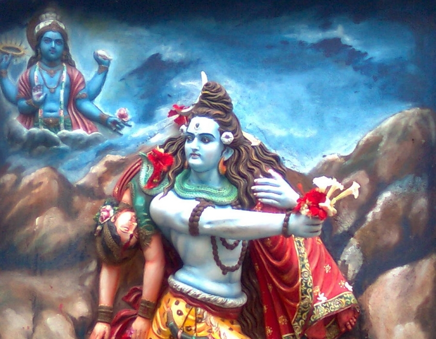 shiva dancing the tandava with sati